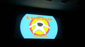 Garry Thomson's production company logo on the big screen